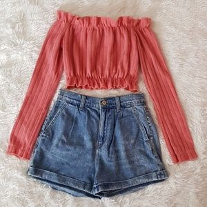 DUSTY ROSE PINK RIBBED OFF THE SHOULDER CROP TOP